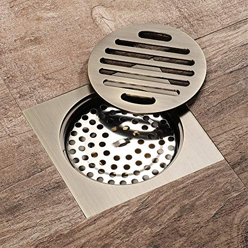 Tile Insert Square Shower Floor Drain 4-Inch Pure Cupper Grate Strainer With Removable Cover, Anti-Clogging For Kitchen Bathroom Washroom Garage Basement by YJZ (Image #1)