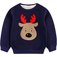 Tkria Baby Boys Christmas Jumpers Kids Deer Gifts Thicker Sweaters Sweatshirt Pullover Long Sleeve Shirts Casual Tops Cotton Tee Age 1 2 3 4 5 6