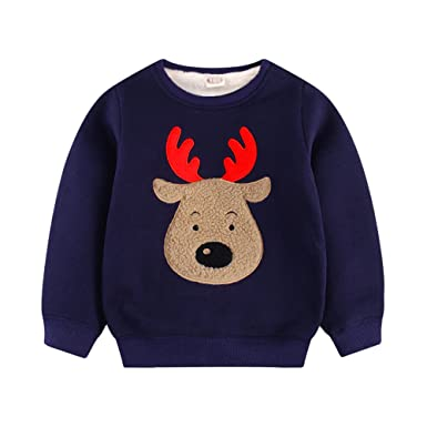 65d93947dc4c Tkria Baby Boys Christmas Jumpers Kids Deer Gifts Thicker Sweaters ...