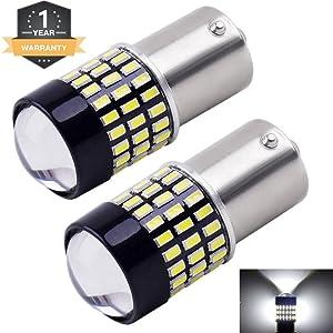 Cargo LED Extremely Super Bright 1156 1141 1003 1073 BA15S 7506 LED Replacement Light Bulbs Lens,78 SMD 3014 900 Lumens For Back Up Reverse Tail RV Lights 6000K 12v-24v Pack of 2 (Xenon White)