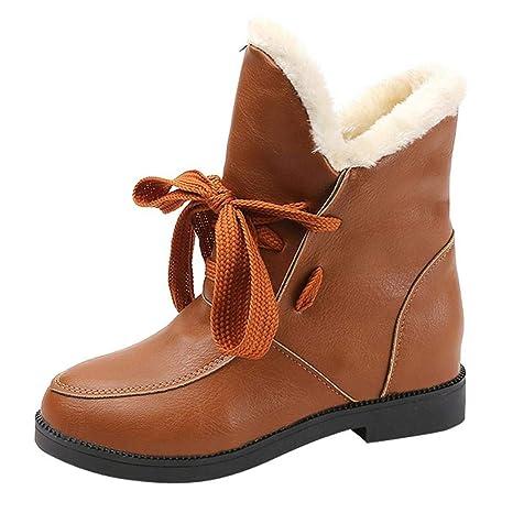 Logobeing Botas Mujer Invierno Cuero/Botas de Mujer Zapatos Mujer Cordones Botas Casual Zapatillas Botines