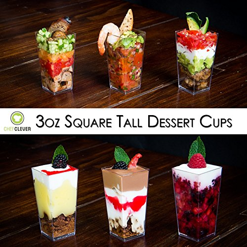 Dlux 50 X 3 Oz Mini Dessert Cups With Spoons Square Tall