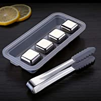 Whiskey Stones Stainless Steel Ice Cubes - Reusable Whisky Chilling Rocks Metal Ice with Tongs and Freezer Storage Tray…