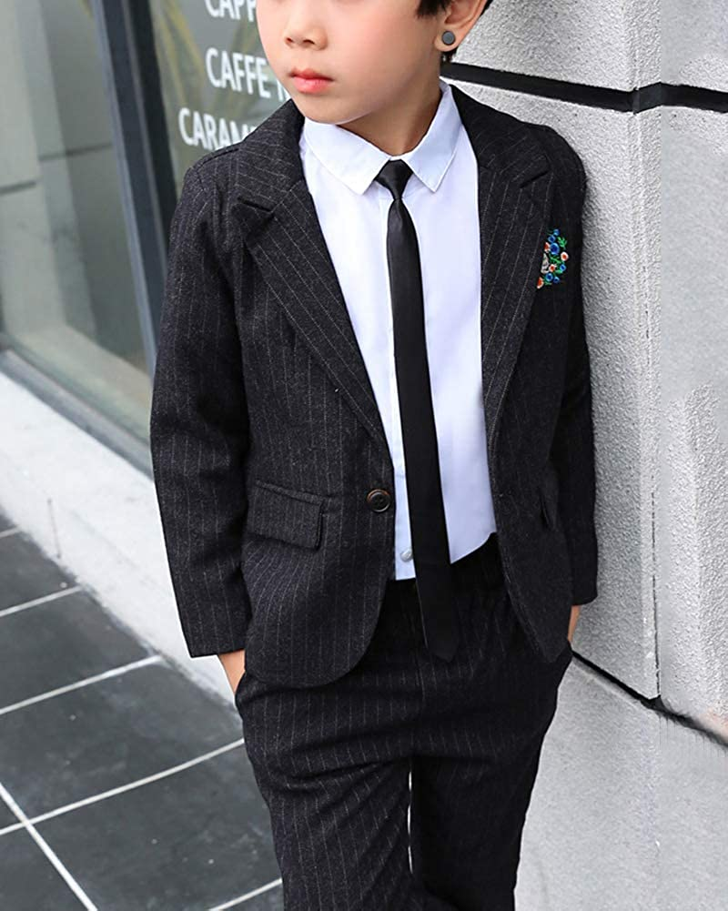 Formal Pinstripe Wedding Ceremony Page Boy Suits with Embroidery Pattern