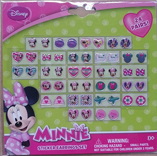Disney Minnie Earrings Set - 24 Pair Sticker on Earrings
