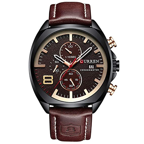 Amazon.com : XBKPLO Quartz Watches Mens Fashion Sport Waterproof Analog Wrist Watch Large Dial Automatic Calendar Leather Strap Watch Jewelry Gift : Pet ...