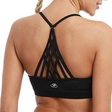 a7e9c085a8 Hopgo Women s Sports Bra Low Impact Strappy Workout Bra Cross Back Straps Yoga  Bra Top Black