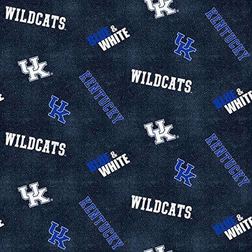 UNIVERSITY OF KENTUCKY FLANNEL FABRIC WITH DISTRESSED GROUND-KENTUCKY WILDCATS 100% COTTON FLANNEL FABRIC SOLD BY THE YARD