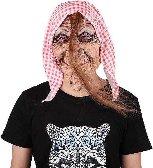 UELEGANS Máscara de Bruja Vieja de Halloween, Máscara de Abuela ...