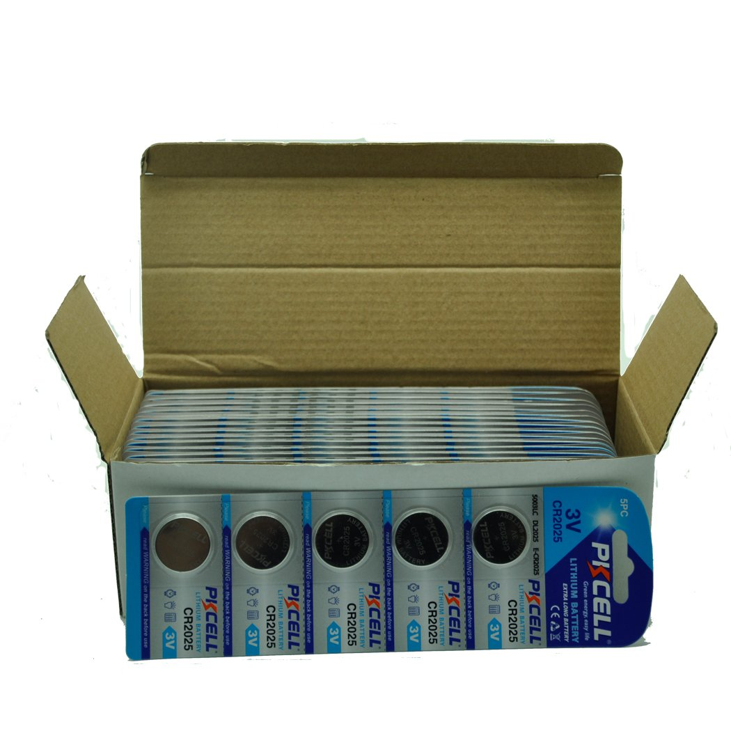 PKCELL Button Coin Battery CR2025 3V Lithium Battery (500pcs)
