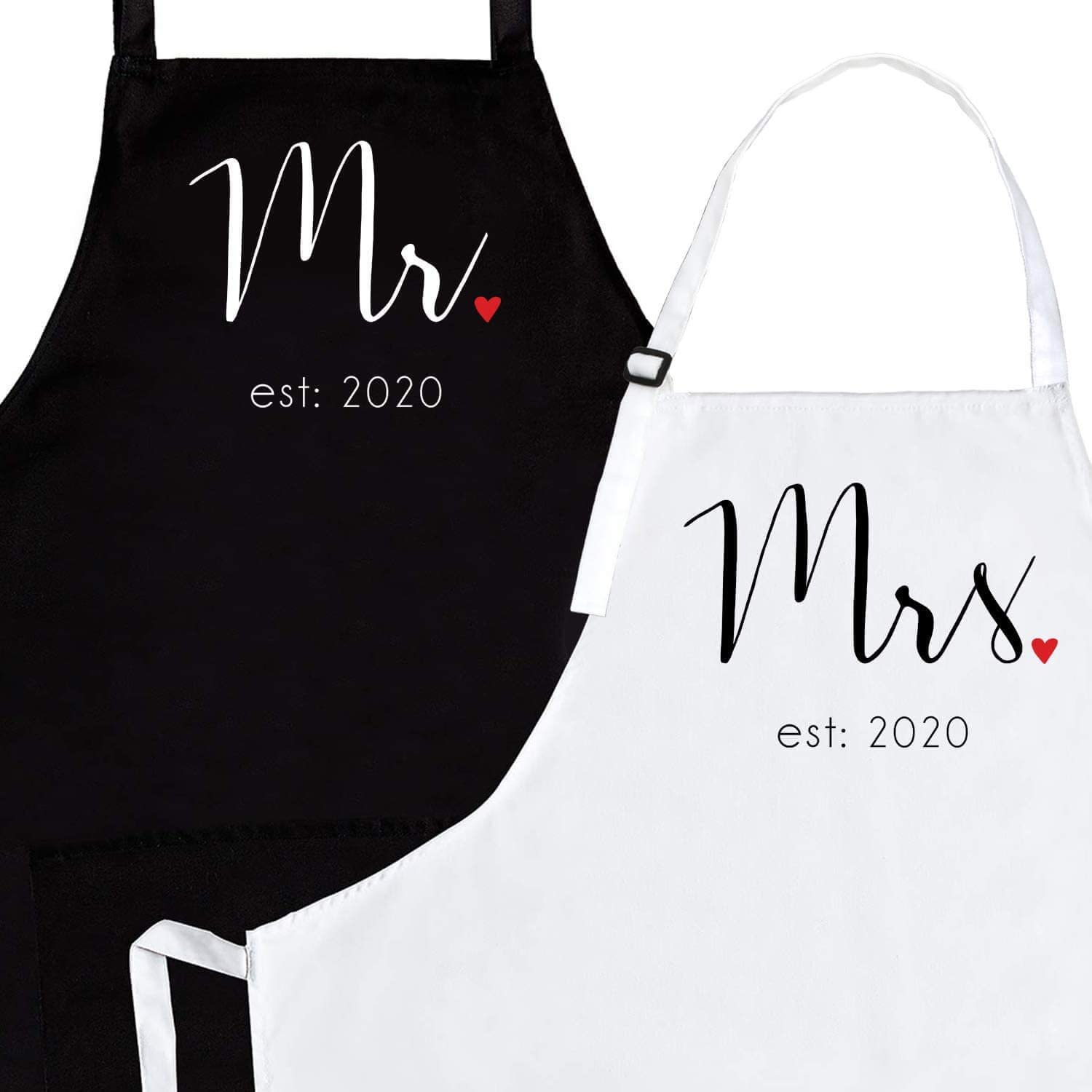 This image is a pair of apron in black and white with Mr. and Mrs. markings at the front.