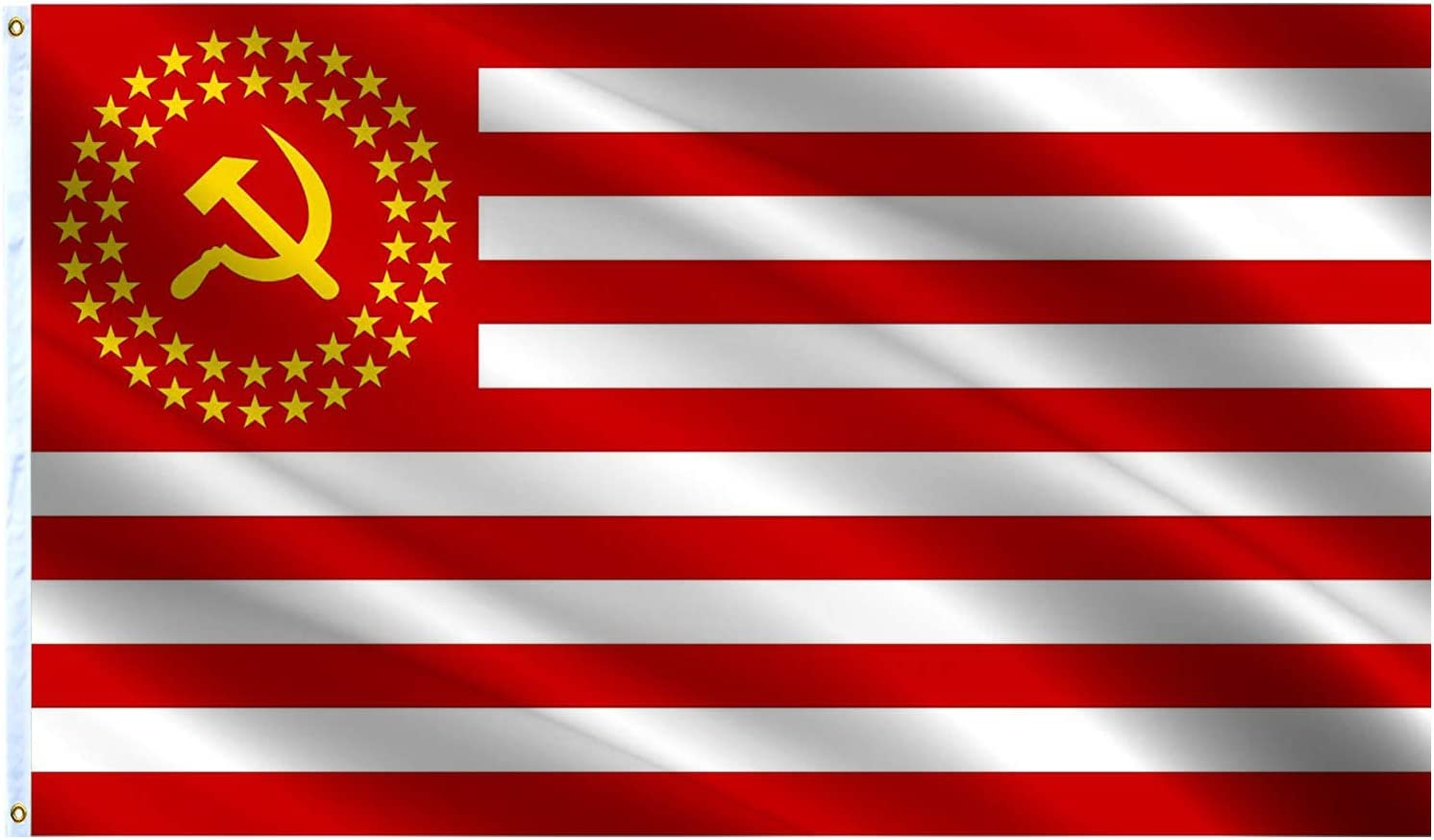 VAFLAG The United Socialist States of America Flag Communist American US USA Republics National Flags 3x5 Ft 50 Stars Flag Vivid Color and Fade Resistant - Cool Outdoor Banner with Grommets Wall Flags