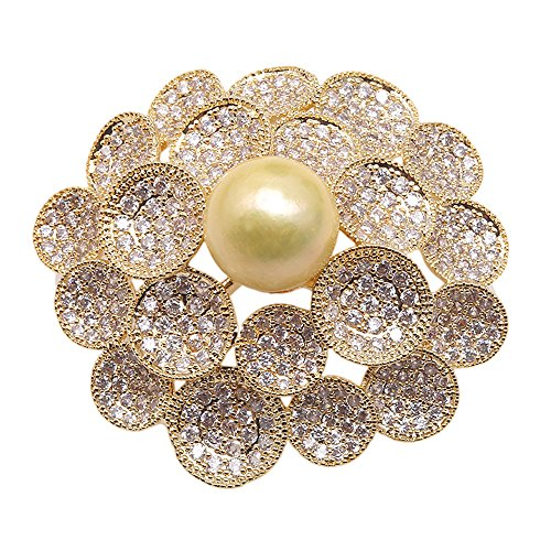 Brooch Cultured Gold Pearl (JYX Lustrous 12.5mm Golden Round Edison Pearl Brooch Pendant)