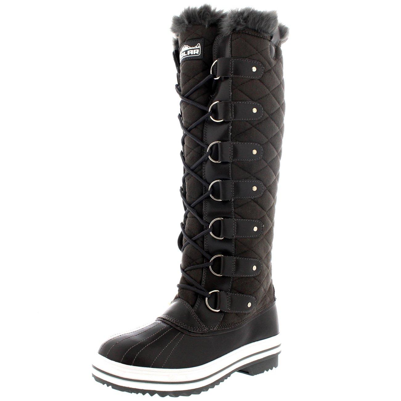 Women Shoe Winter Warm Tall Boots Rain Knee High Lace Up ...