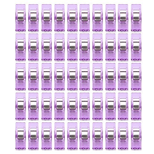 YJYdada 50 PCS Hide on Bush Plastic Clips Clear Sewing Craft Quilt Binding Clamps Pack (Purple)