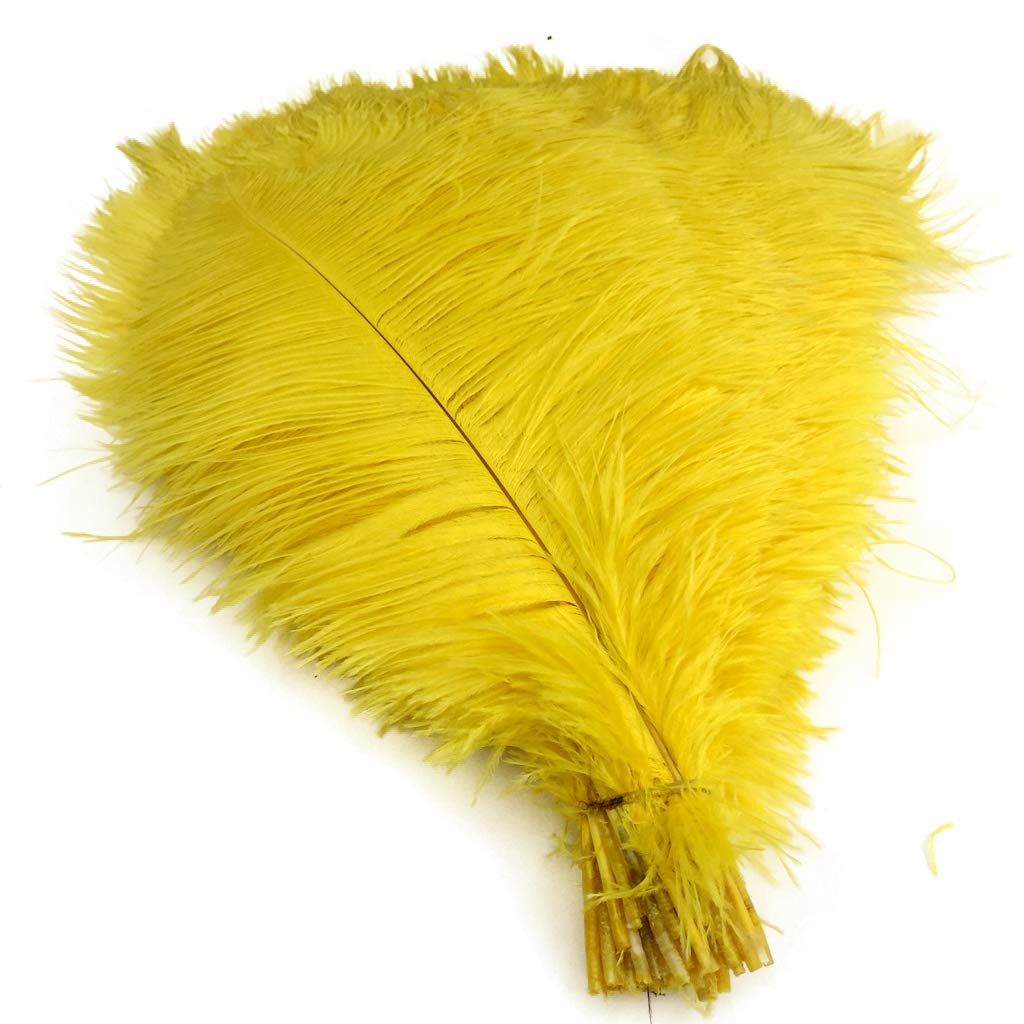 White Shekyeon 18-20inch 45-50cm Ostrich Feather Wedding Table Decoration Party Festival Supplies Pack of 5