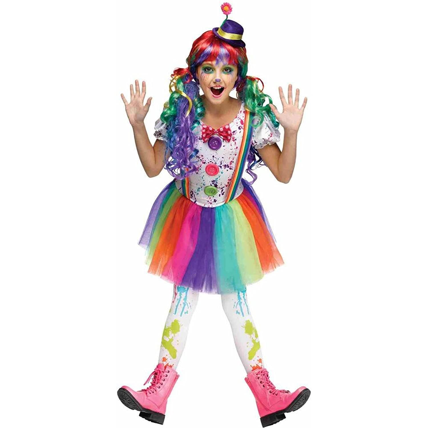 Amazon.com: Girls Crazy Color Clown Costume: Toys & Games