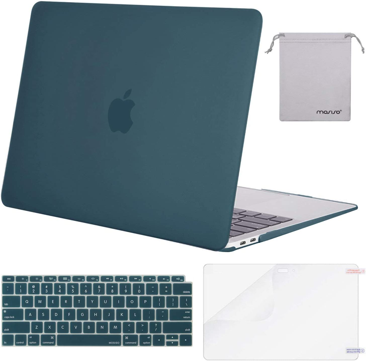 MOSISO MacBook Air 13 inch Case 2020 2019 2018 Release A2179 A1932 with Retina Display, Plastic Hard Shell&Keyboard Cover&Screen Protector&Storage Bag Compatible with MacBook Air 13, Deep Teal