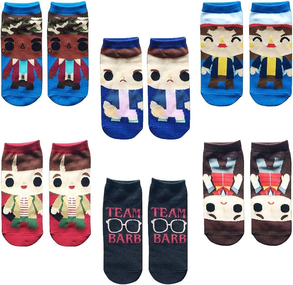 Vercico 6 Pack Ankle Socks Teen Women Stranger Novelty Things Socks Set No Show Low Cut Girls Casual Socks: Clothing