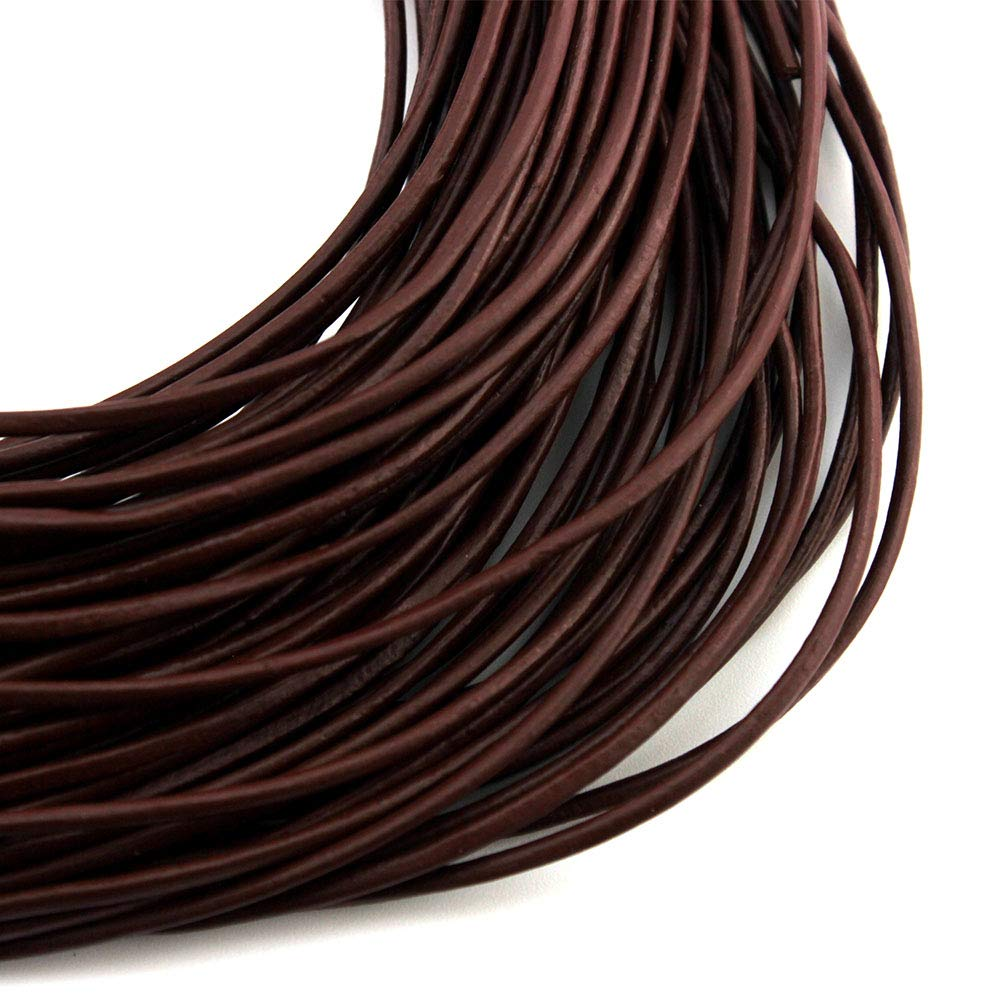 Marr/ón cord/ón cuero para collar pulsera abalorios bisuter/ía RUBY cuerda de cuero para bricolaje 23 m Cuerda de piel redonda /Ø 2mm