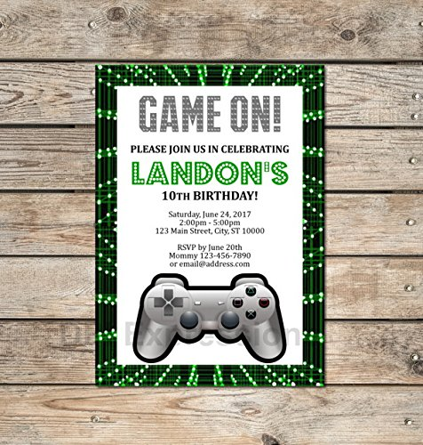 video game invitation custom gaming party invitation game on video game invitations gamer - Video Game Party Invitations