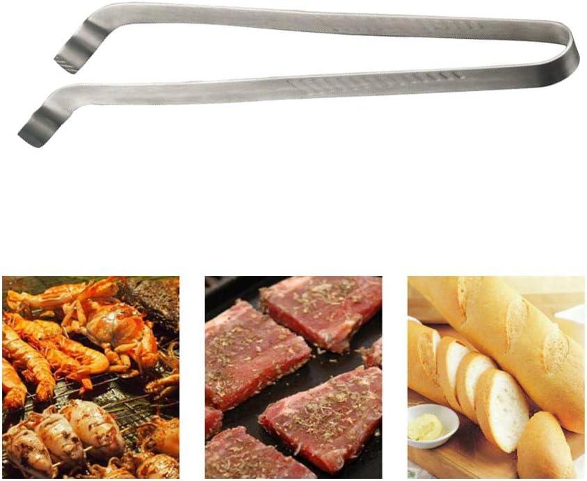 Grillzange f/ür Steak Langer Griff hitzebest/ändig Leikance Grill-Clip Edelstahl