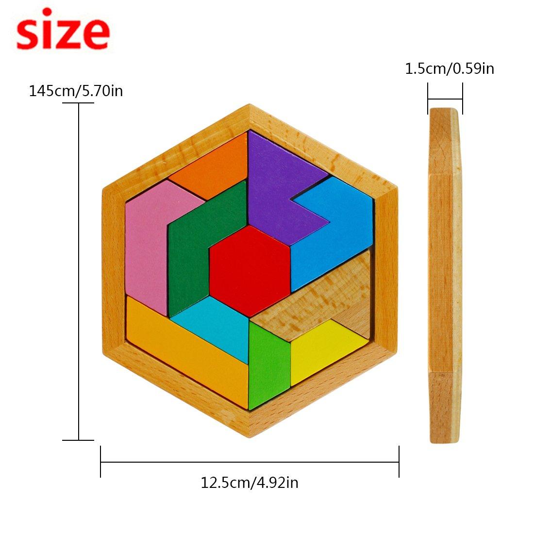 11 Blocchi ZHQB-01 Larcele Giocattolo di Puzzle di Legno Tangram Forme Puzzle Stile A,Multicolore