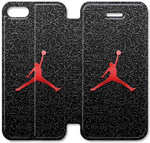 Flip étui en cuir PU Stand pour Coque iPhone 5 5S, bricolage 5 5S cas de téléphone cellulaire Jordan Logo 3 A8S2DU Unique Effacer Coque iPhone étuis en cuir
