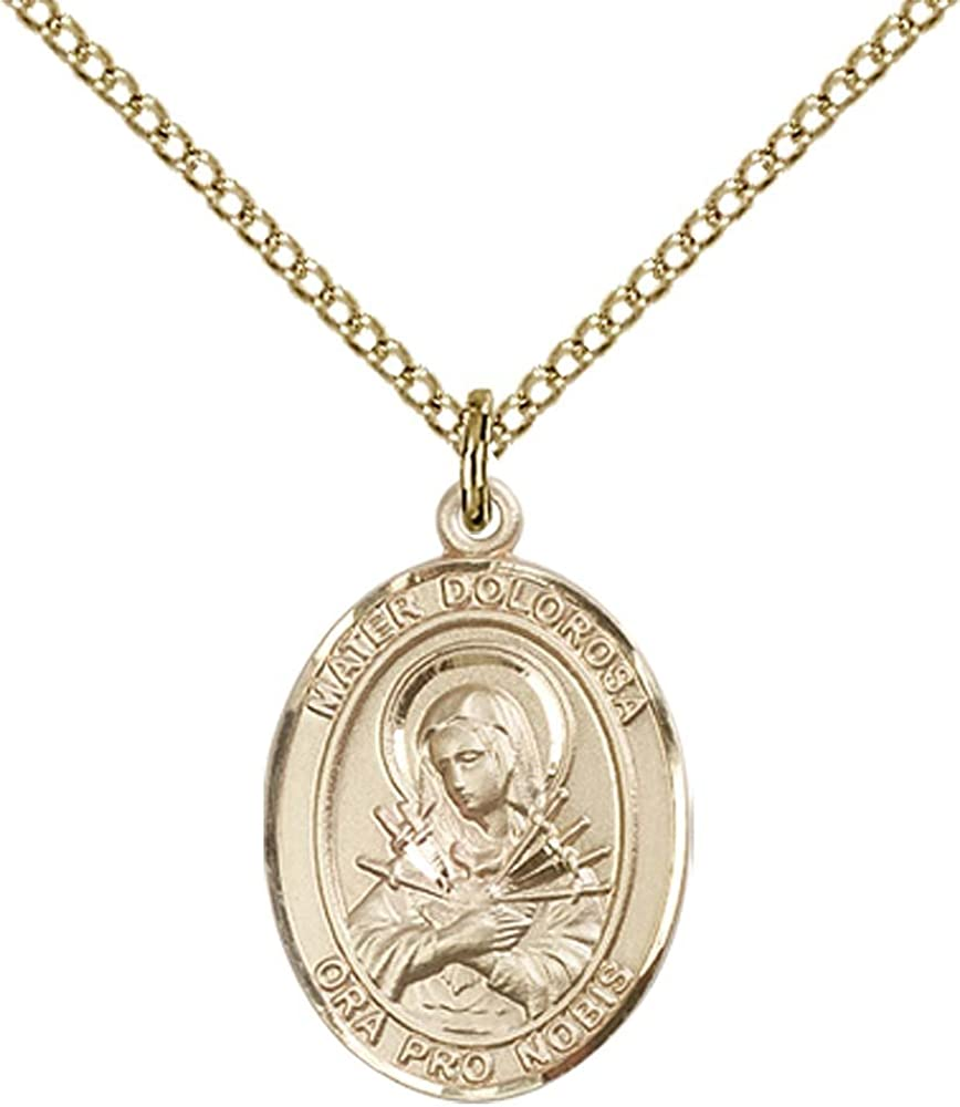 14kt Gold Filled Mater Dolorosa Pendant with 18 Gold Filled Lite Curb Chain.