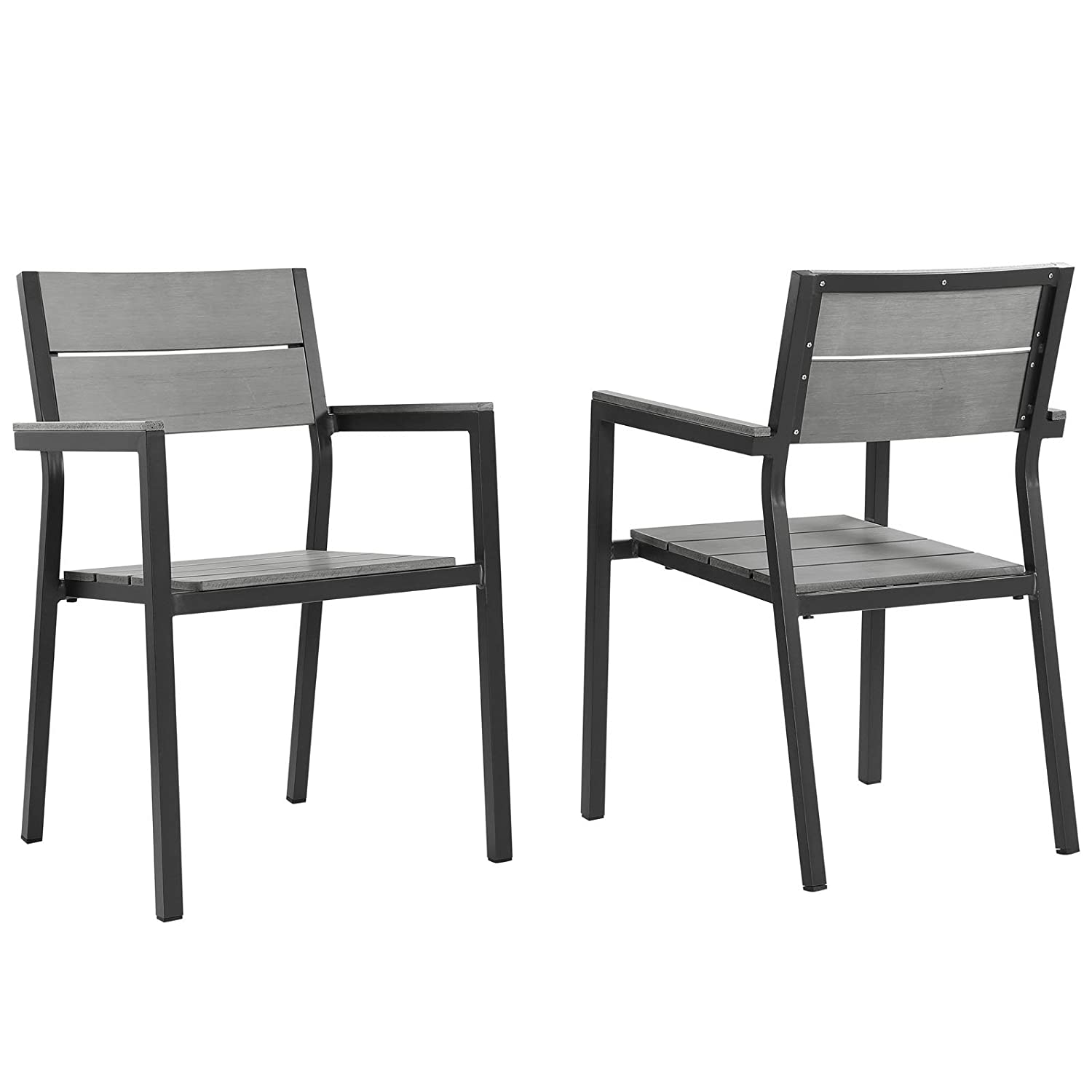 Modway EEI-1739-BRN-GRY-SET Maine Dining Armchair Outdoor Patio Set of 2 , Two, Brown Gray