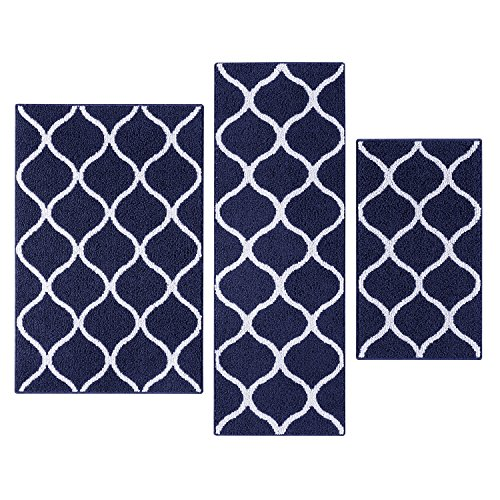Kitchen Rugs Set, Maples Rugs [Made in USA][Rebecca] 3 Piece Sets Non Slip Padded Small Area Rugs for Living Room, Entryway, and Bedroom - Navy Blue/White