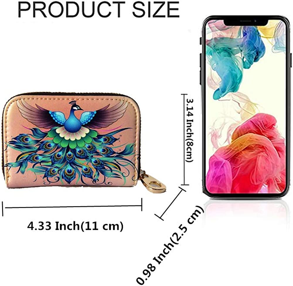 Minimalist Accordion Wallet Hand-painted color Fly Joys Women RFID Blocking Leather Rose Embossed Credit Card Holder