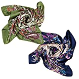 2 PCS Women's Large Satin Square Silk Feeling Hair Scarf 35 x 35 inches