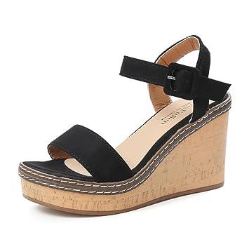 29b7f469019 ❤Sandales Compensées Femme,Xinan Sandales Talon Compensé Chaussures Tongs Sandales  Talons Hauts Peep-