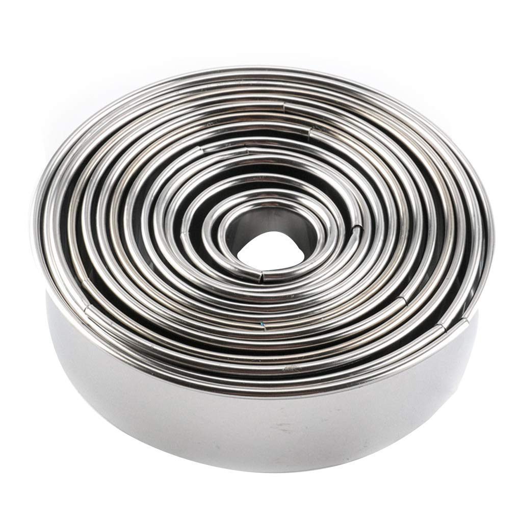 Zerama 14pcs 430 Stainless Steel Cake Mousse Molds Set Round Form Small Baking Ring Moulds Kit Kitchen Tool