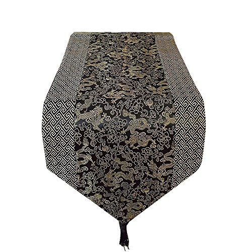 (Asian Home Gorgeous Oriental Brocade Table Runner DRAGON (BLACK) )