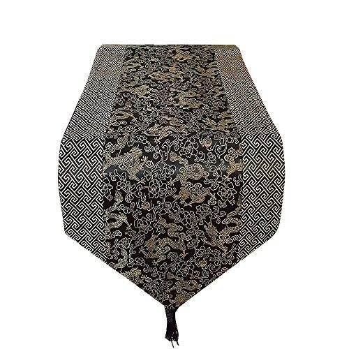 Oriental Dragon - Asian Home Gorgeous Oriental Brocade Table Runner DRAGON (BLACK)