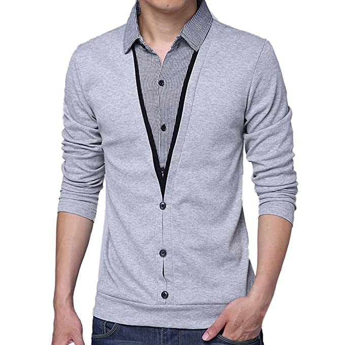 Camisetas Hombre Manga Larga,ZARLLE Moda Personalidad Hombres Camiseta de Manga Larga con Cuello en