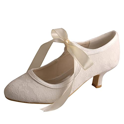 f75cfe38bd05 Wedopus MW306 Women s Lace and Satin Ribbons Closed Toe Pumps Mary Janes Low  Heel Ivory Bridal