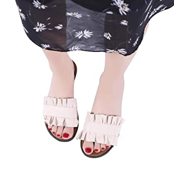 ¡Venta caliente! Zapatillas de mujer de color sólido para interiores y exteriores, zapatos de playa plisados casuales: Amazon.es: Hogar