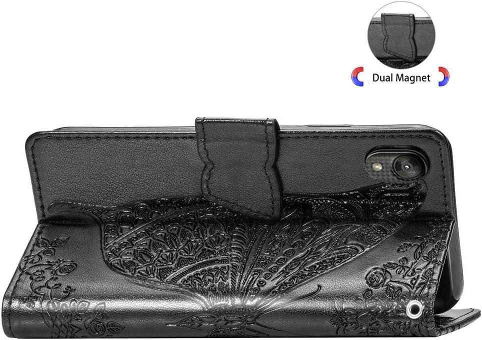 LEECOCO for Moto E6 Case Mandala Embossing Luxury PU Leather Flip Notebook Wallet Bookstyle Magnetic Stand Card Slot Folio Bumper Protection Cover for Motorola Moto E6 Mandala Black LD