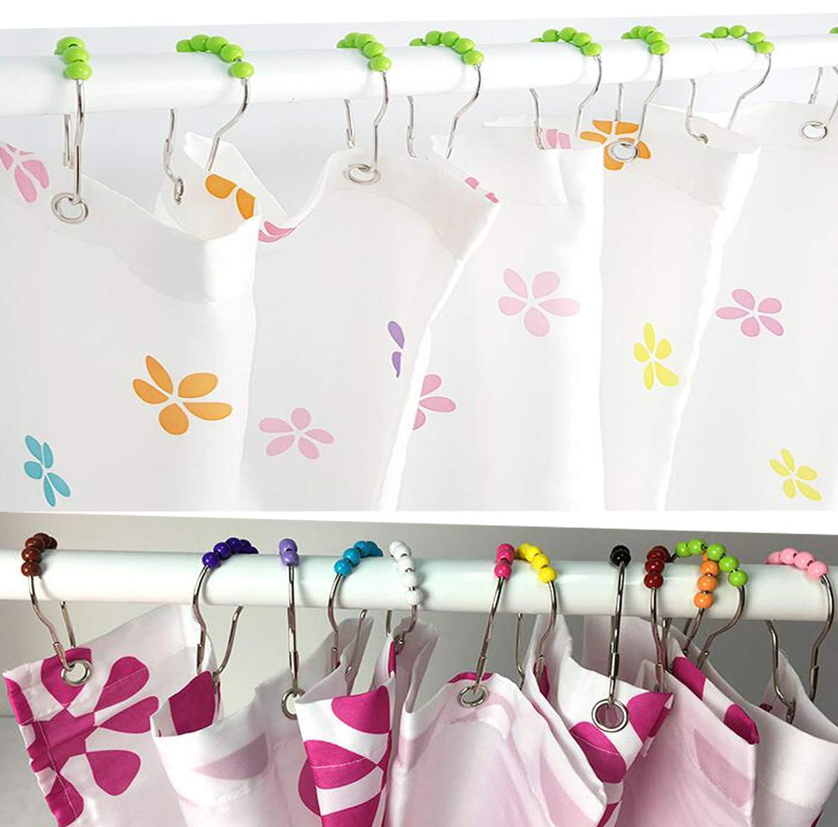 Biluer 12PCS Shower Curtain Rings Stainless Steel Shower Curtain Hooks Bath Curtain Rings Colored Acrylic Roller Ball As Sliding System Single Hooks Shower Rings with Easy Installation