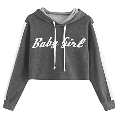 6305536bdb0 Staron Womens Long Sleeve Crop Hoodie Sweatshirt Baby Girl Hooded Tops at  Amazon Women's Clothing store: