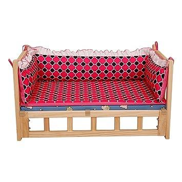 Cama para Perros, Cama para Perros elevada de Madera Maciza, sofá Comfort Comfort para Perros, Funda extraíble Lavable - Rojo (Tamaño : L 75×50×42cm): ...