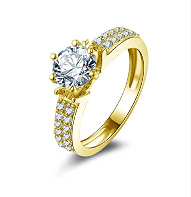 Amazon Com Gowe 10k Solid Yellow Gold Wedding Rings Female Anillos