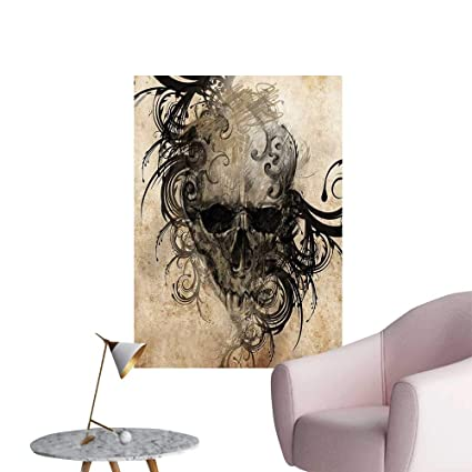Wall Painting Revenge Fierce Faced Skull Triplets With Romantic