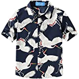 SSLR Big Boy's Cranes Casual Button Down Short Sleeve Hawaiian Shirt (Large(14-16), Navy)