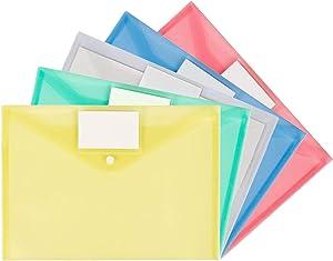A4 Plastic Wallets Folder Foolscap Document Office Folders Pockets, 5Pcs