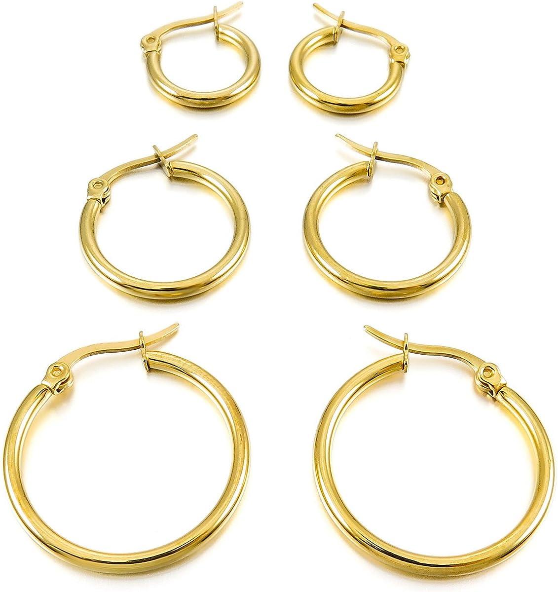 MunkiMix 15mm 20mm 25mm Acero Inoxidable Aro Hoop Huggie Pendientes Plata Oro Dorado Rosa Oro Negro Tono Conjunto Set (3 Coppiaes) Mujer