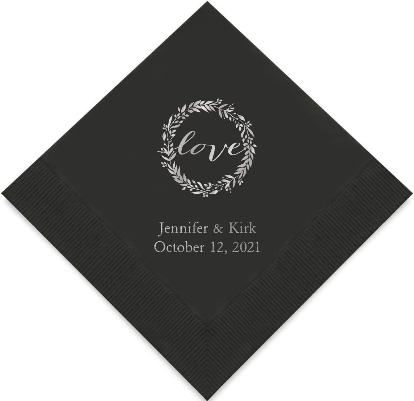 Weddingstar Personalized Printed Paper Napkins 3-Ply 50 Pack - Cocktail Black
